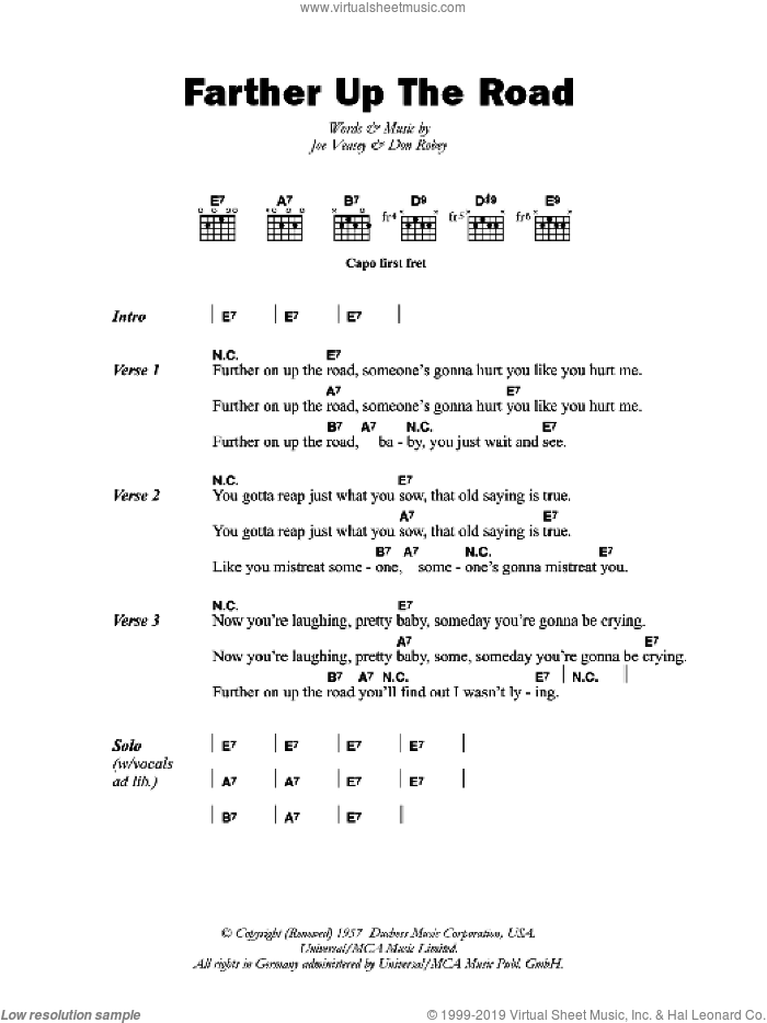 Farther Up The Road sheet music for guitar (chords) by Bobby 'Blue' Bland, Don Robey and Joe Veasey, intermediate skill level