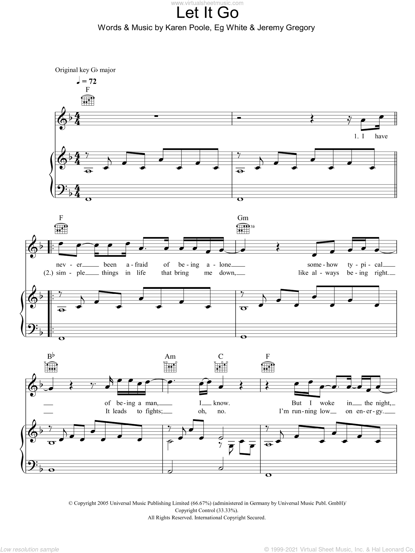 Let It Go sheet music for voice, piano or guitar by Eg White
