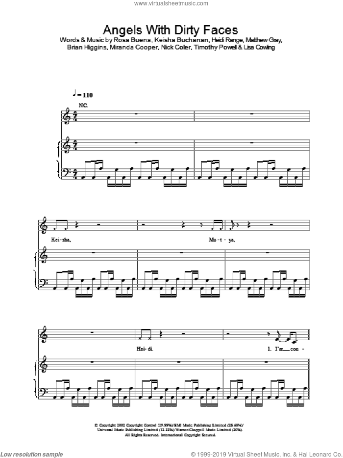 Angels With Dirty Faces sheet music for voice, piano or guitar by Sugababes. Score Image Preview.