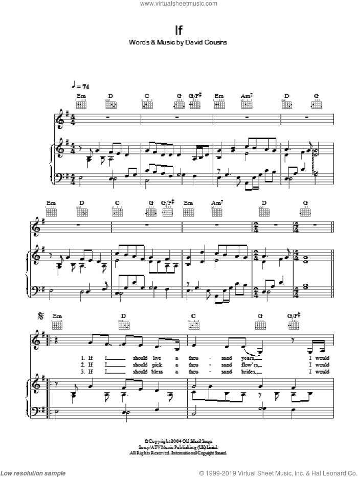 If sheet music for voice, piano or guitar by David Cousins. Score Image Preview.