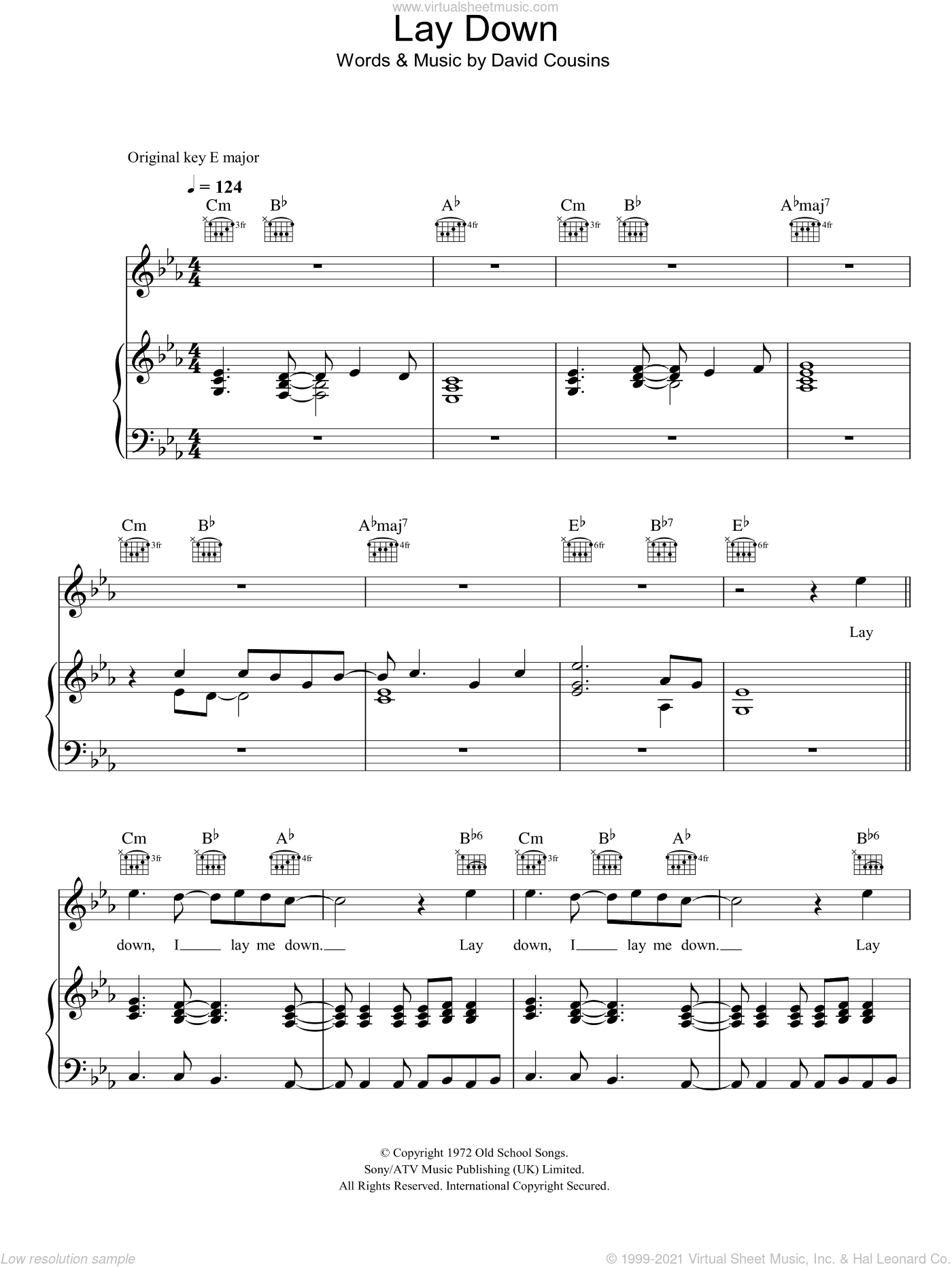 Lay Down sheet music for voice, piano or guitar by David Cousins
