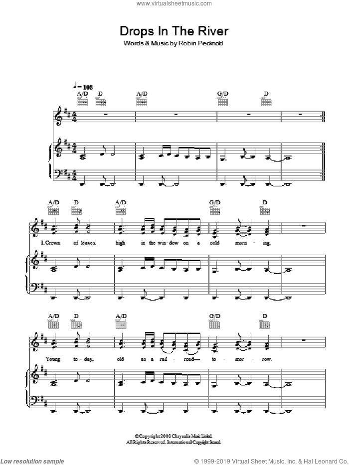 Drops In The River sheet music for voice, piano or guitar by Fleet Foxes and Robin Pecknold, intermediate skill level