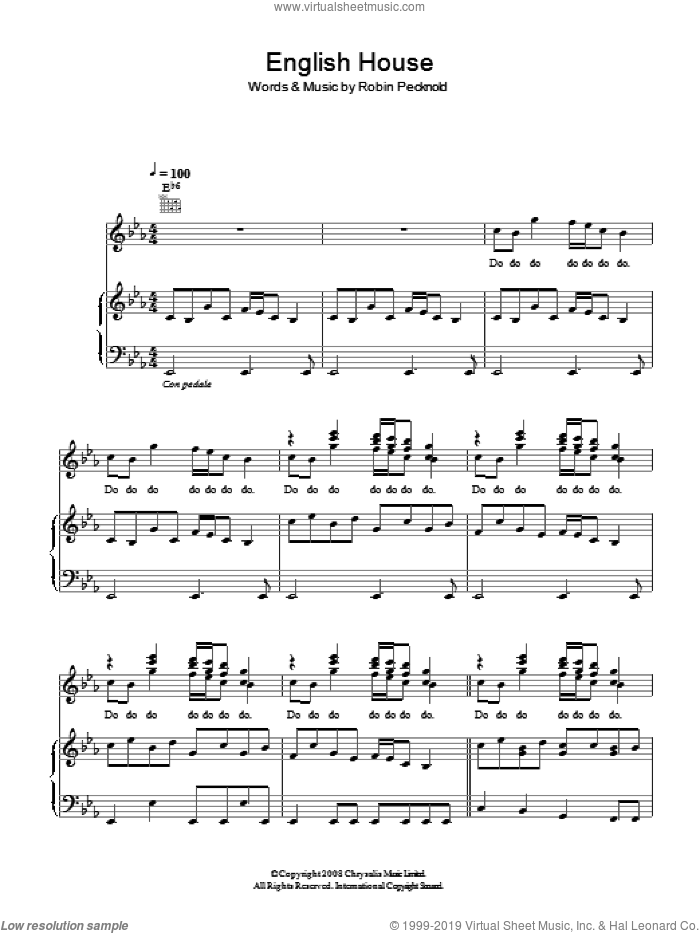 English House sheet music for voice, piano or guitar by Robin Pecknold