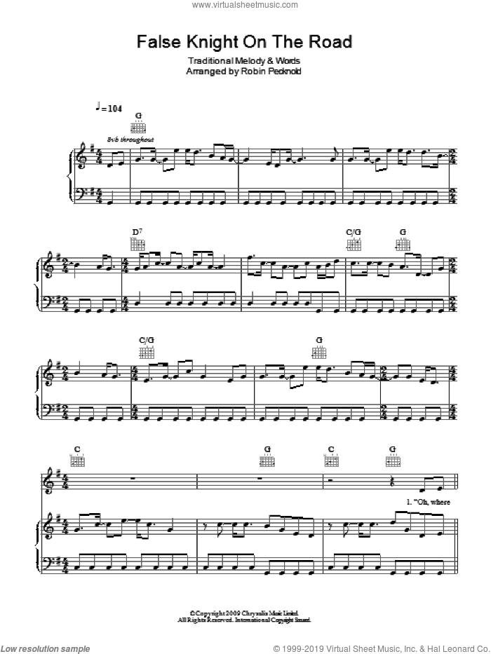 False Knight On The Road sheet music for voice, piano or guitar by Fleet Foxes and Miscellaneous. Score Image Preview.