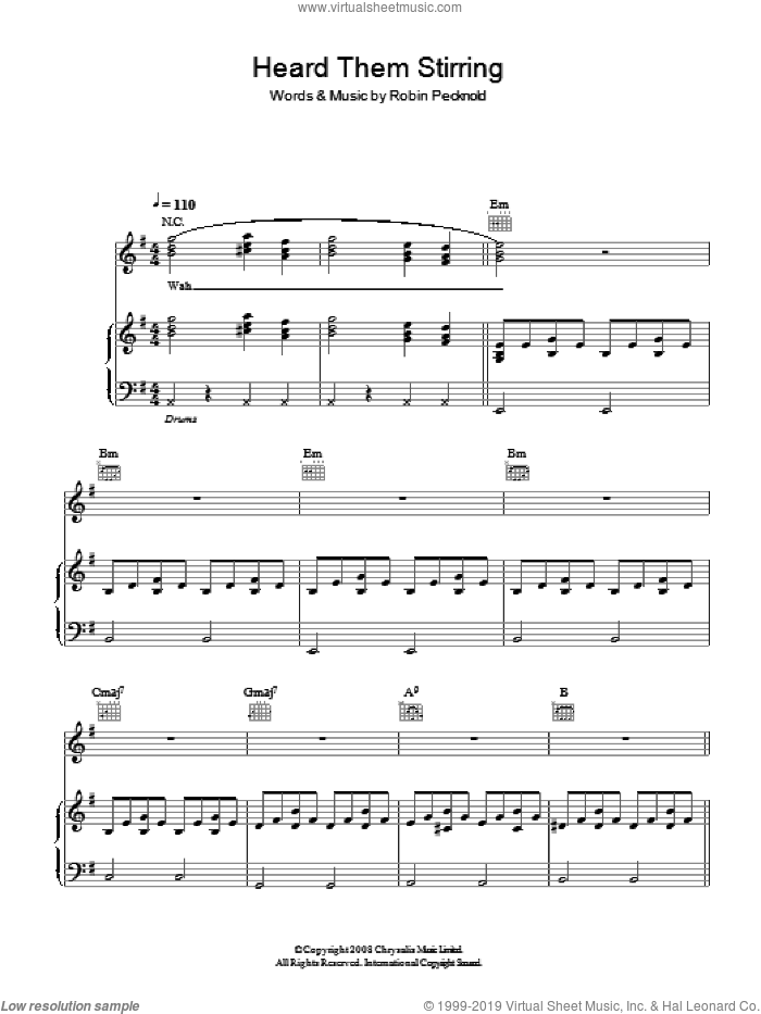 Heard Them Stirring sheet music for voice, piano or guitar by Fleet Foxes, intermediate