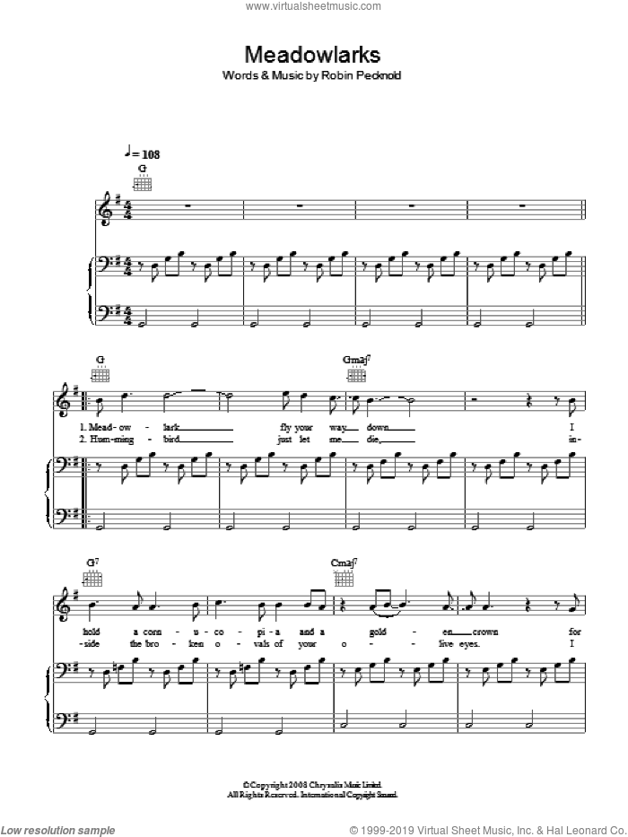 Meadowlarks sheet music for voice, piano or guitar by Robin Pecknold and Fleet Foxes. Score Image Preview.