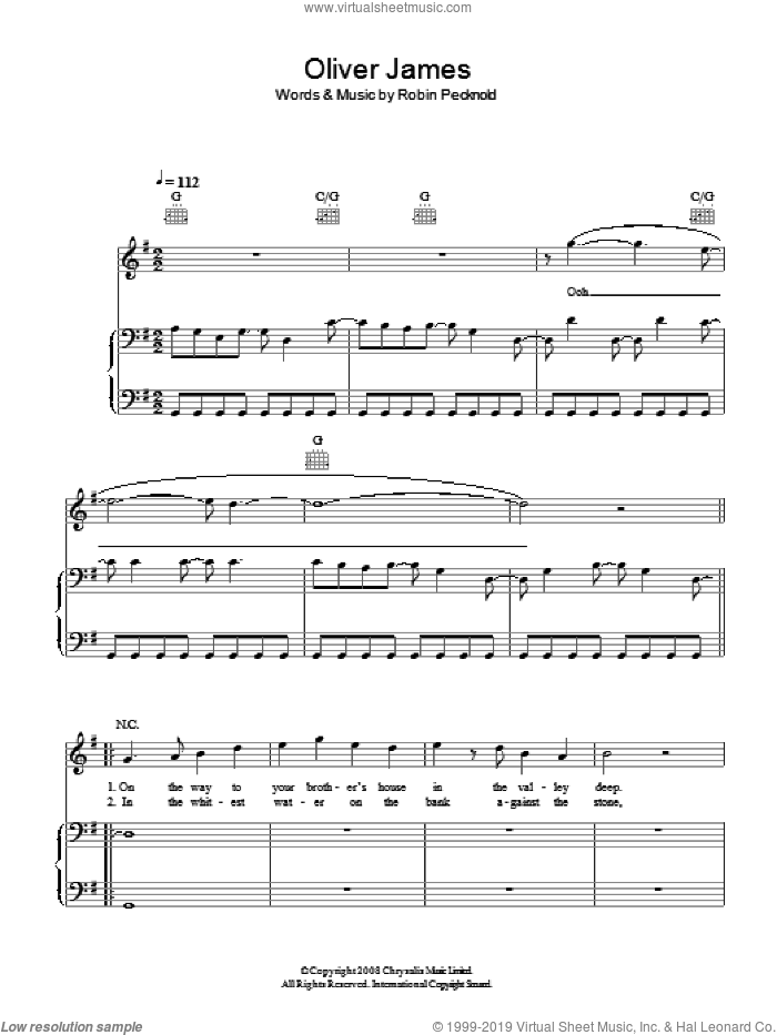 Oliver James sheet music for voice, piano or guitar by Fleet Foxes, intermediate voice, piano or guitar. Score Image Preview.
