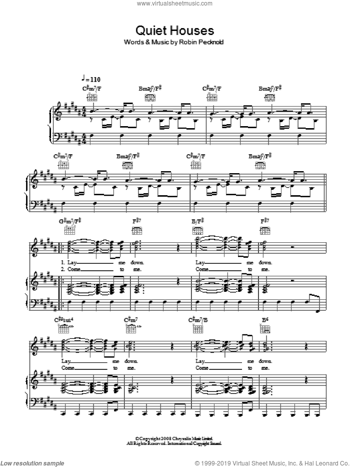 Quiet Houses sheet music for voice, piano or guitar by Robin Pecknold and Fleet Foxes. Score Image Preview.