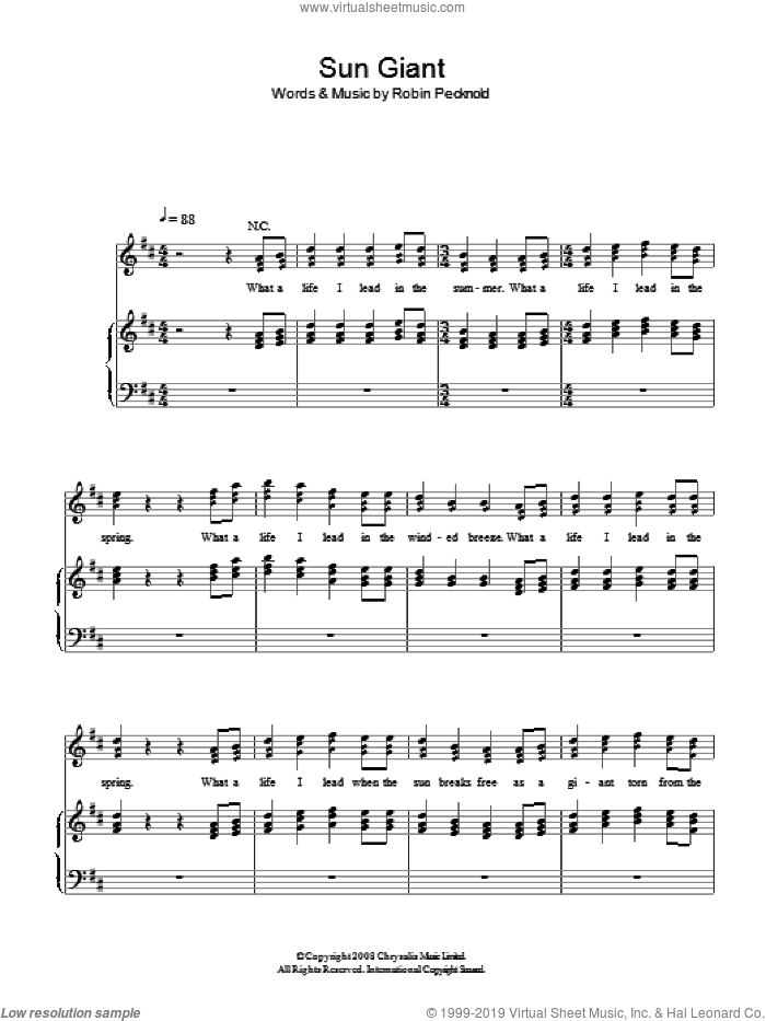 Sun Giant sheet music for voice, piano or guitar by Robin Pecknold
