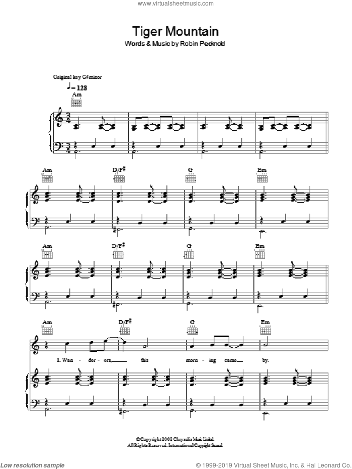 Tiger Mountain Peasant Song sheet music for voice, piano or guitar by Robin Pecknold