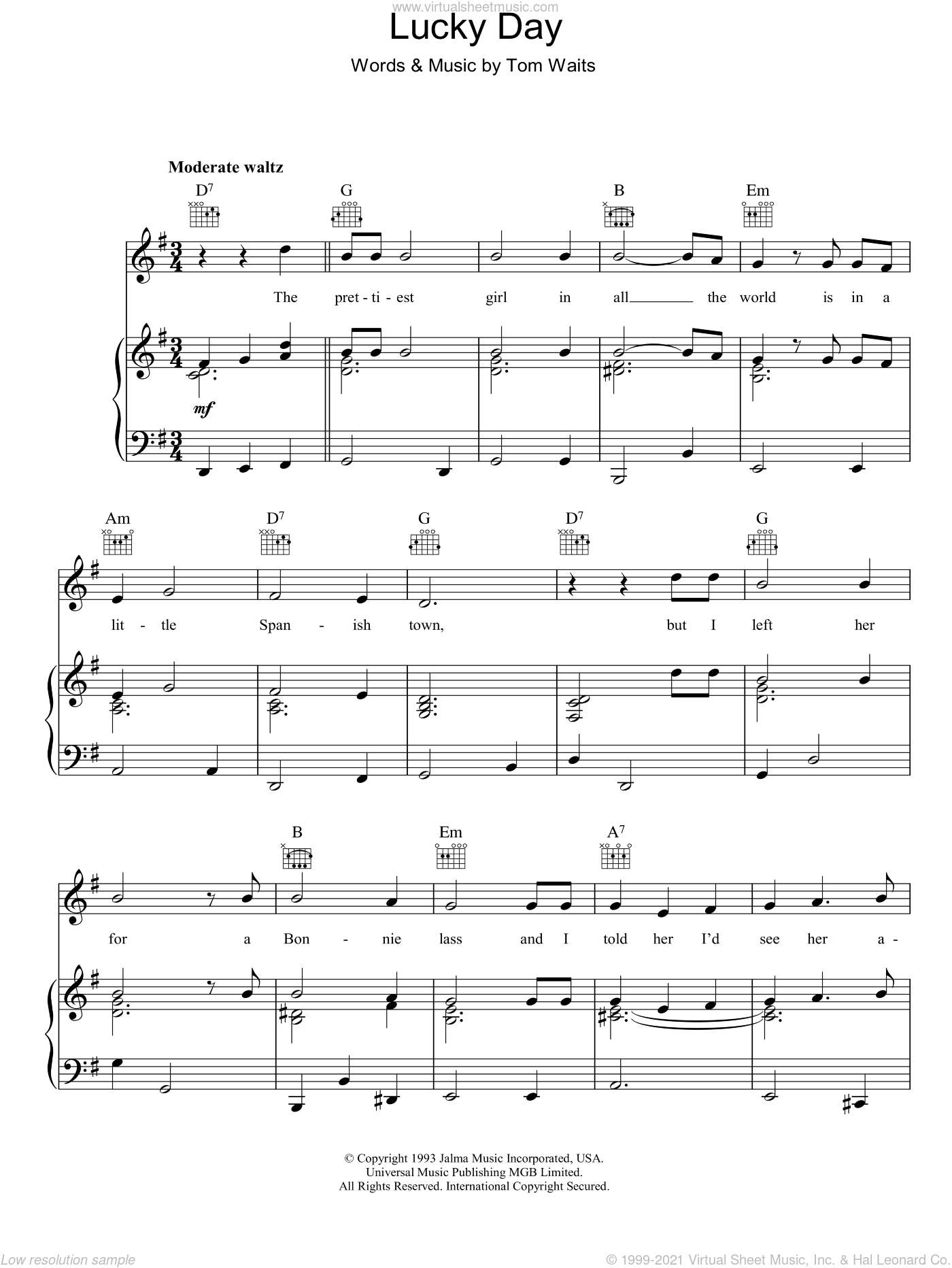 Lucky Day sheet music for voice, piano or guitar by Tom Waits, intermediate voice, piano or guitar. Score Image Preview.
