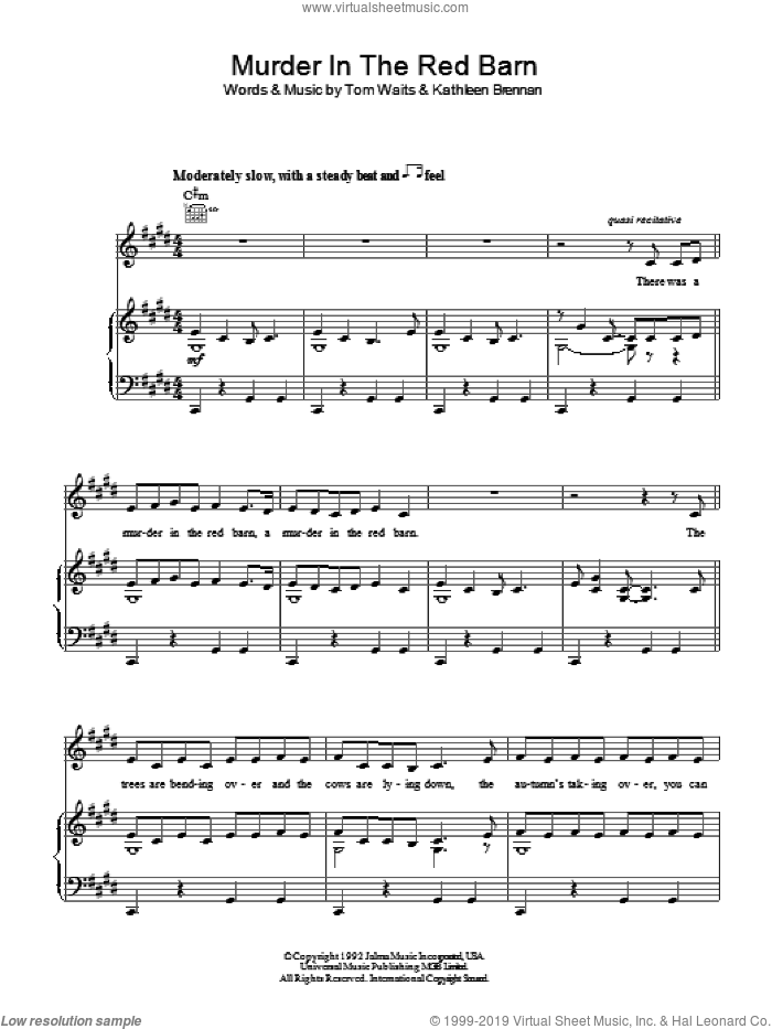 Murder In The Red Barn sheet music for voice, piano or guitar by Tom Waits and Kathleen Brennan, intermediate skill level