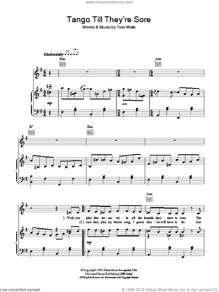 Telephone Call From Istanbul sheet music for voice, piano or guitar by Tom Waits