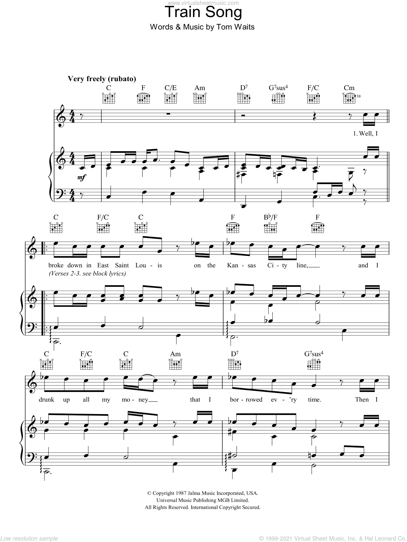 Train Song sheet music for voice, piano or guitar by Tom Waits, intermediate skill level