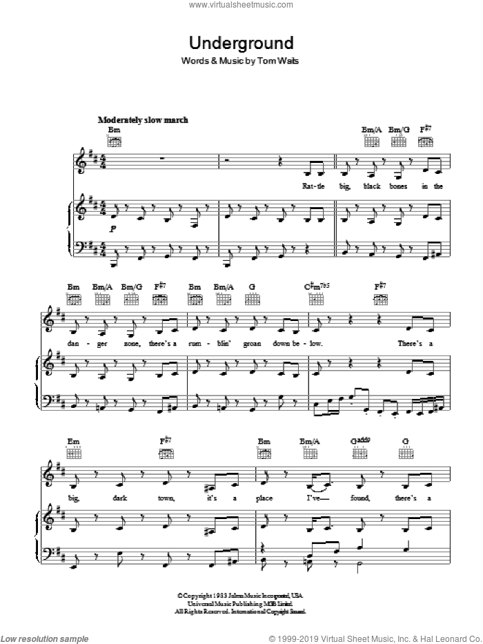 Underground sheet music for voice, piano or guitar by Tom Waits, intermediate