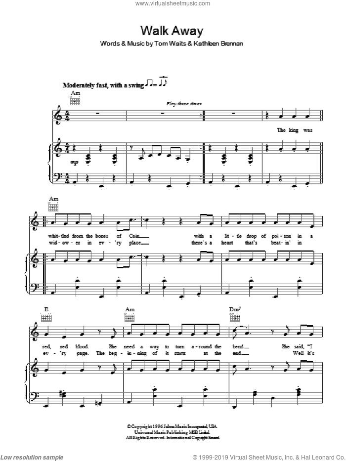 Walk Away sheet music for voice, piano or guitar by Tom Waits and Kathleen Brennan, intermediate. Score Image Preview.