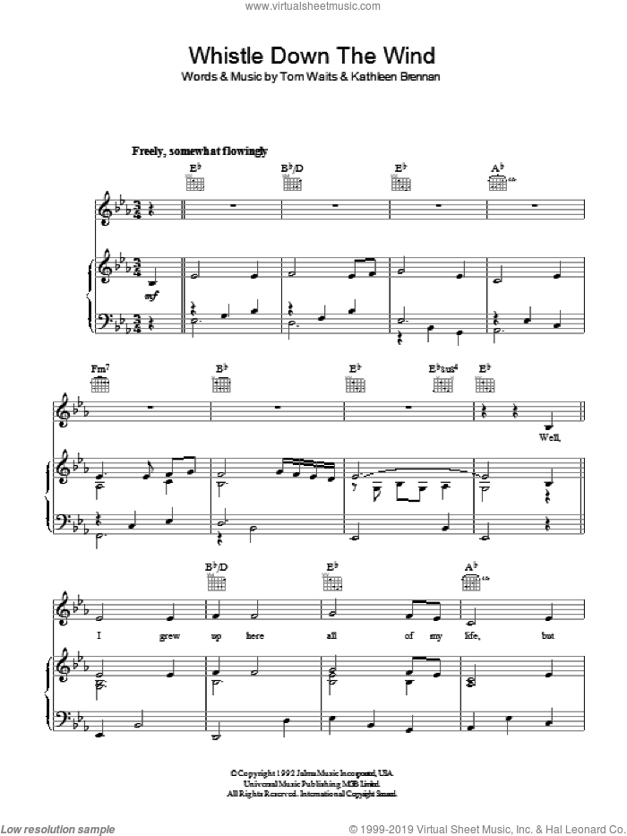 Whistle Down The Wind sheet music for voice, piano or guitar by Tom Waits, intermediate voice, piano or guitar. Score Image Preview.