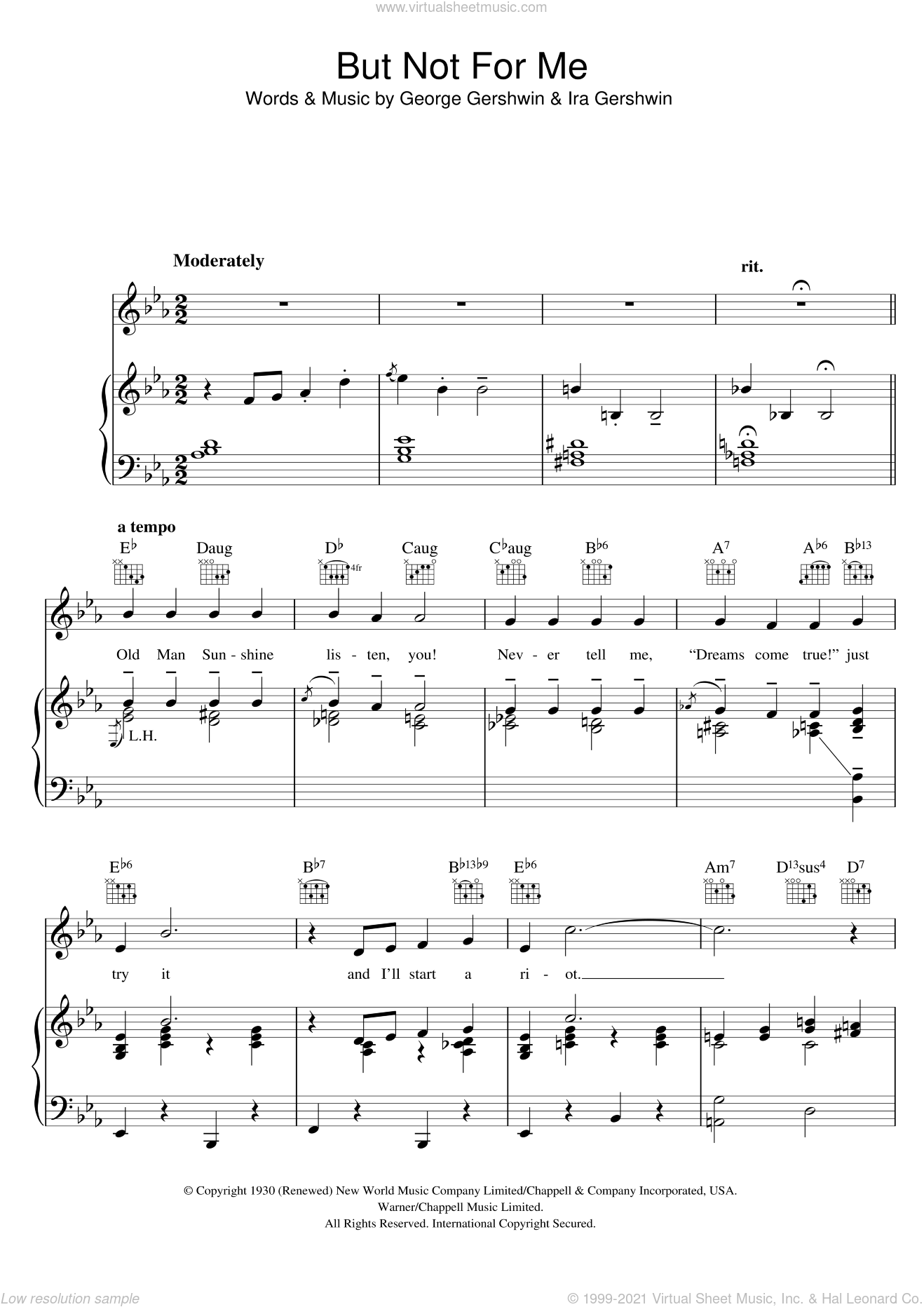 But Not For Me sheet music for voice, piano or guitar by Ira Gershwin