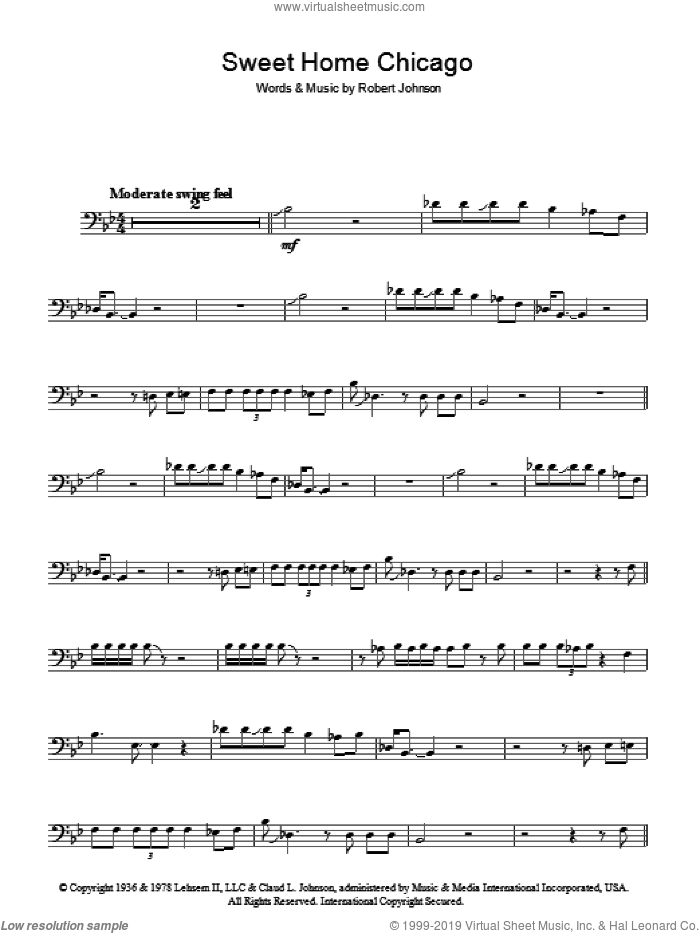 Sweet Home Chicago sheet music for voice, piano or guitar by Robert Johnson, intermediate skill level