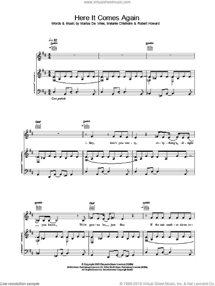 Here It Comes Again sheet music for voice, piano or guitar by Chisholm Melanie, intermediate skill level