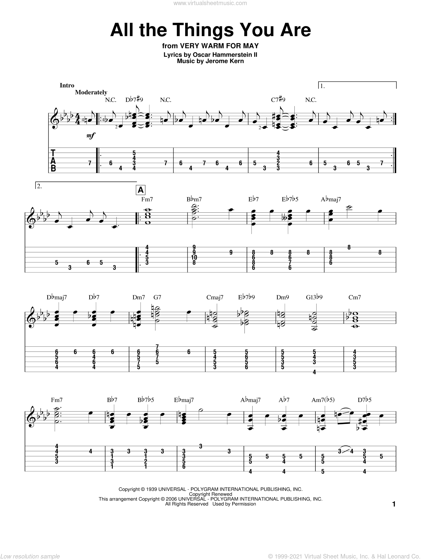 All The Things You Are sheet music for guitar (tablature) by Jerome Kern and Oscar II Hammerstein, wedding score, intermediate skill level