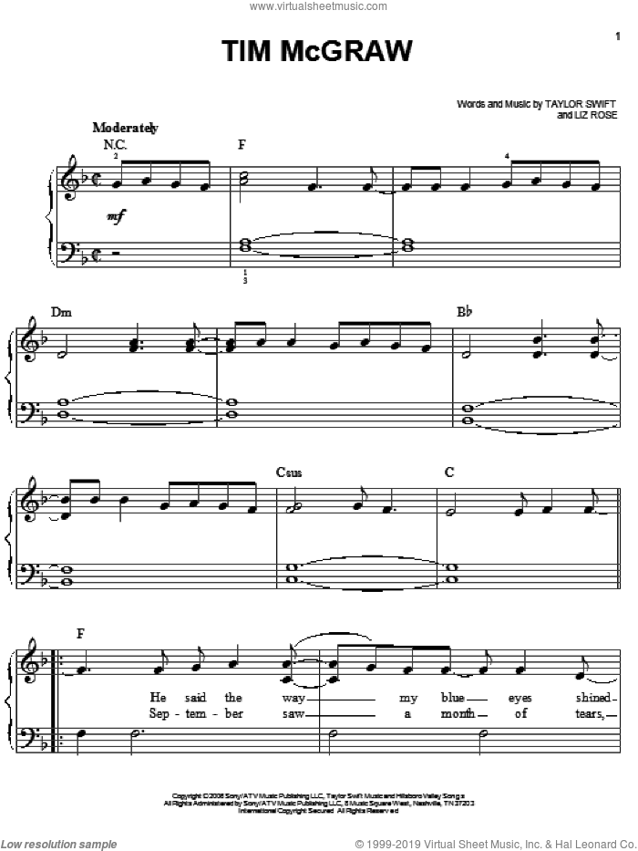 Tim McGraw sheet music for piano solo by Taylor Swift and Liz Rose, easy skill level