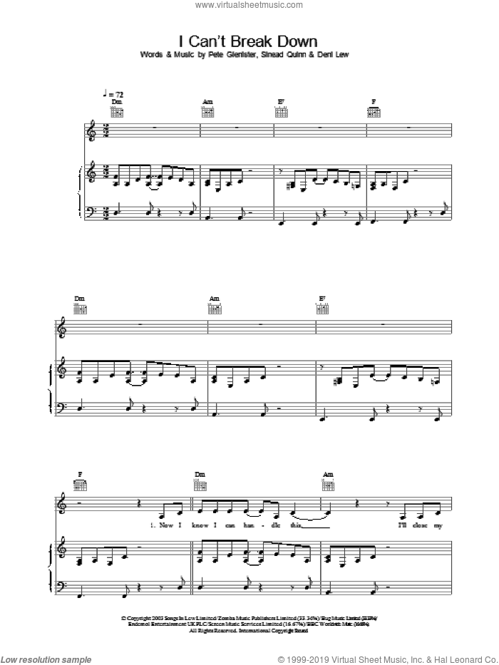 I Can't Break Down sheet music for voice, piano or guitar by Sinead Quinn. Score Image Preview.