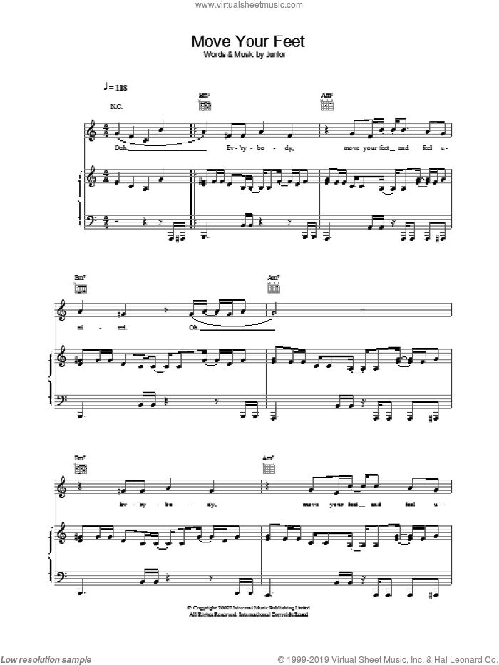 Move Your Feet sheet music for voice, piano or guitar by Junior Senior. Score Image Preview.