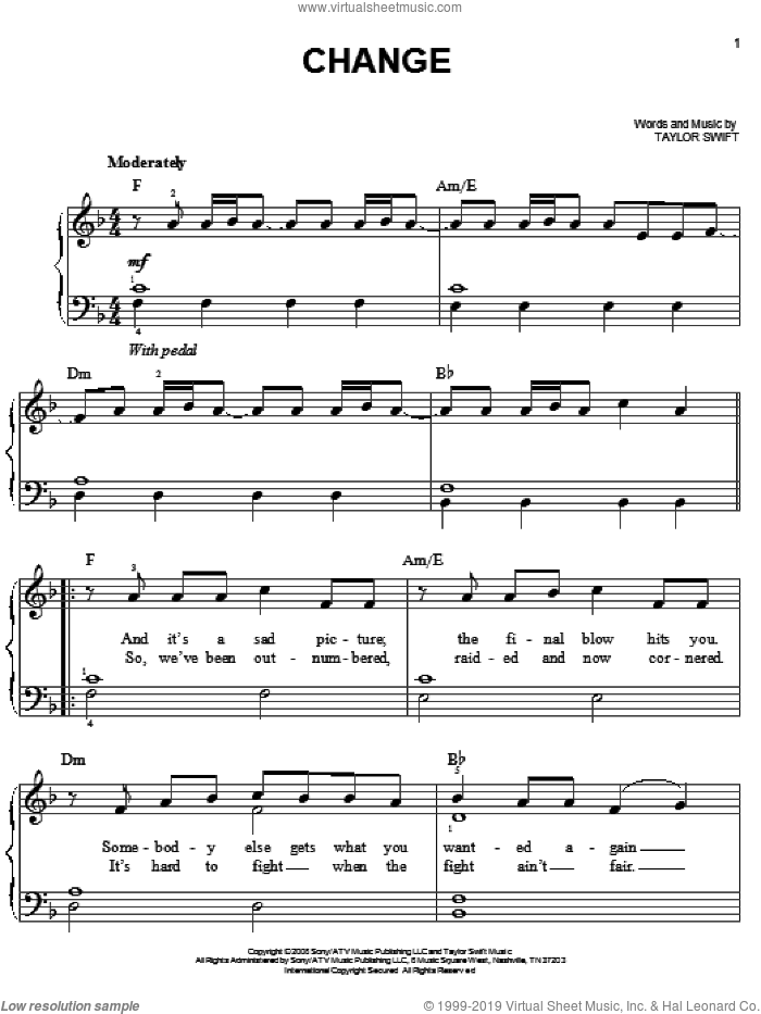 Change sheet music for piano solo by Taylor Swift, easy skill level
