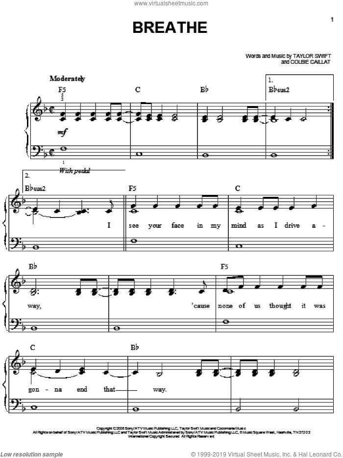 Breathe sheet music for piano solo by Taylor Swift and Colbie Caillat. Score Image Preview.