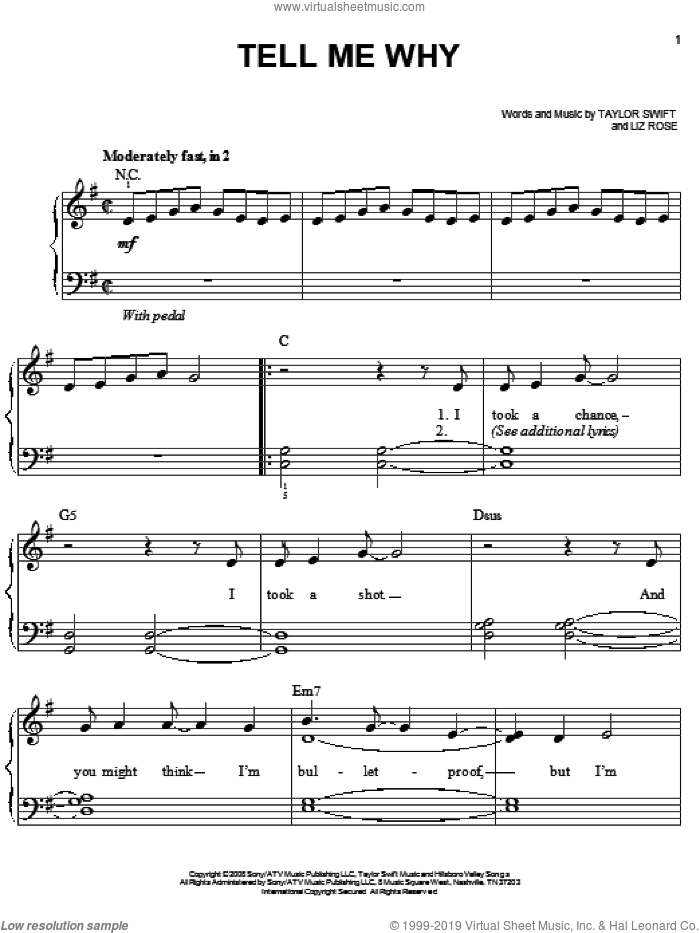 Tell Me Why sheet music for piano solo by Taylor Swift and Liz Rose, easy skill level