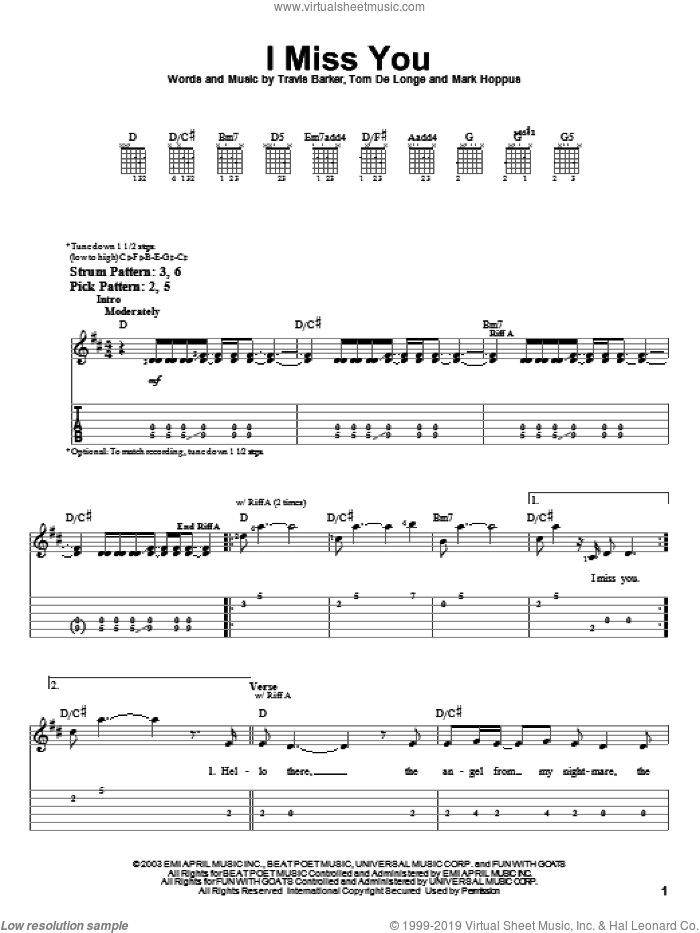 I Miss You sheet music for guitar solo (easy tablature) by Blink-182, Mark Hoppus, Tom DeLonge and Travis Barker, easy guitar (easy tablature)