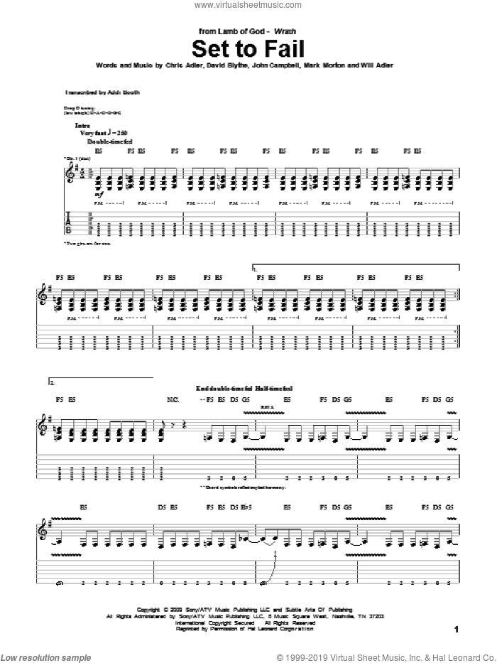 Set To Fail sheet music for guitar (tablature) by Lamb Of God, Chris Adler, David Blythe, John Campbell, Mark Morton and Will Adler, intermediate. Score Image Preview.