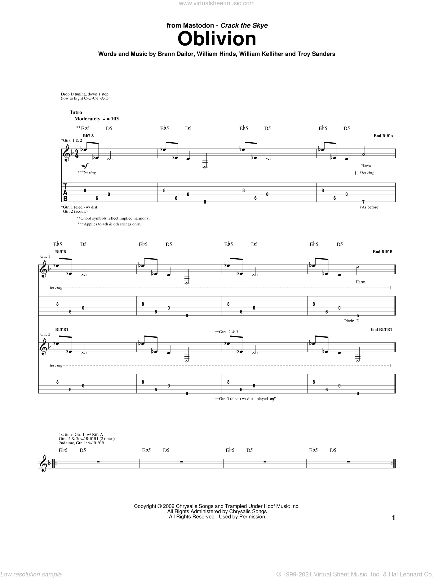 Oblivion sheet music for guitar (tablature) by William Kelliher, Mastodon and Troy Sanders. Score Image Preview.