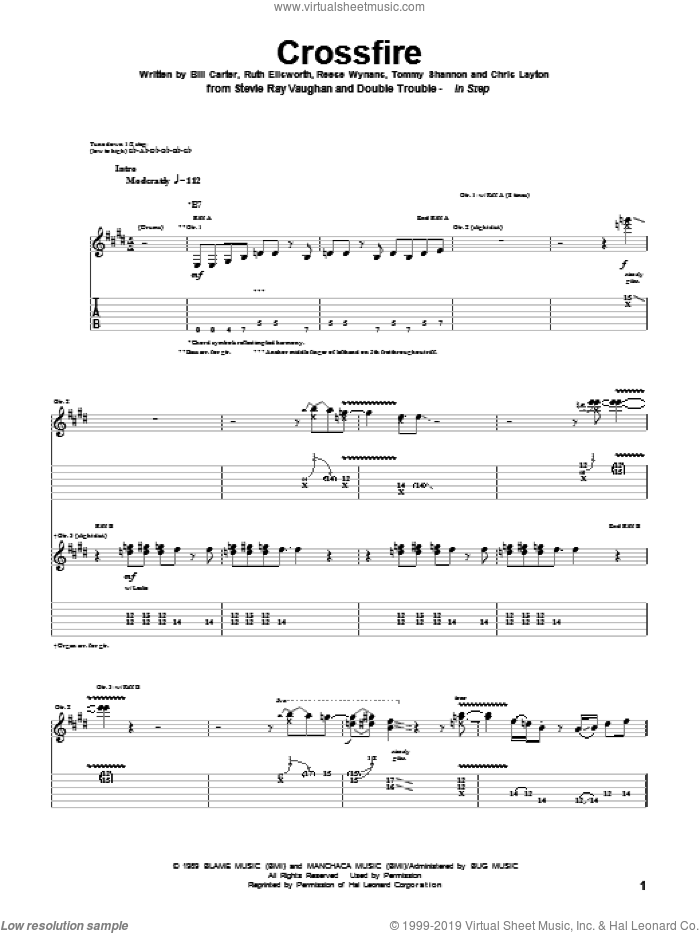 Crossfire sheet music for guitar (tablature) by Tommy Shannon, Stevie Ray Vaughan and Ruth Ellsworth. Score Image Preview.
