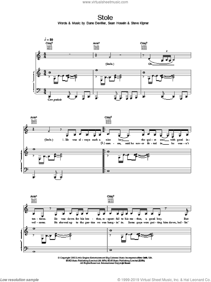 Stole sheet music for voice, piano or guitar by Kelly Rowland