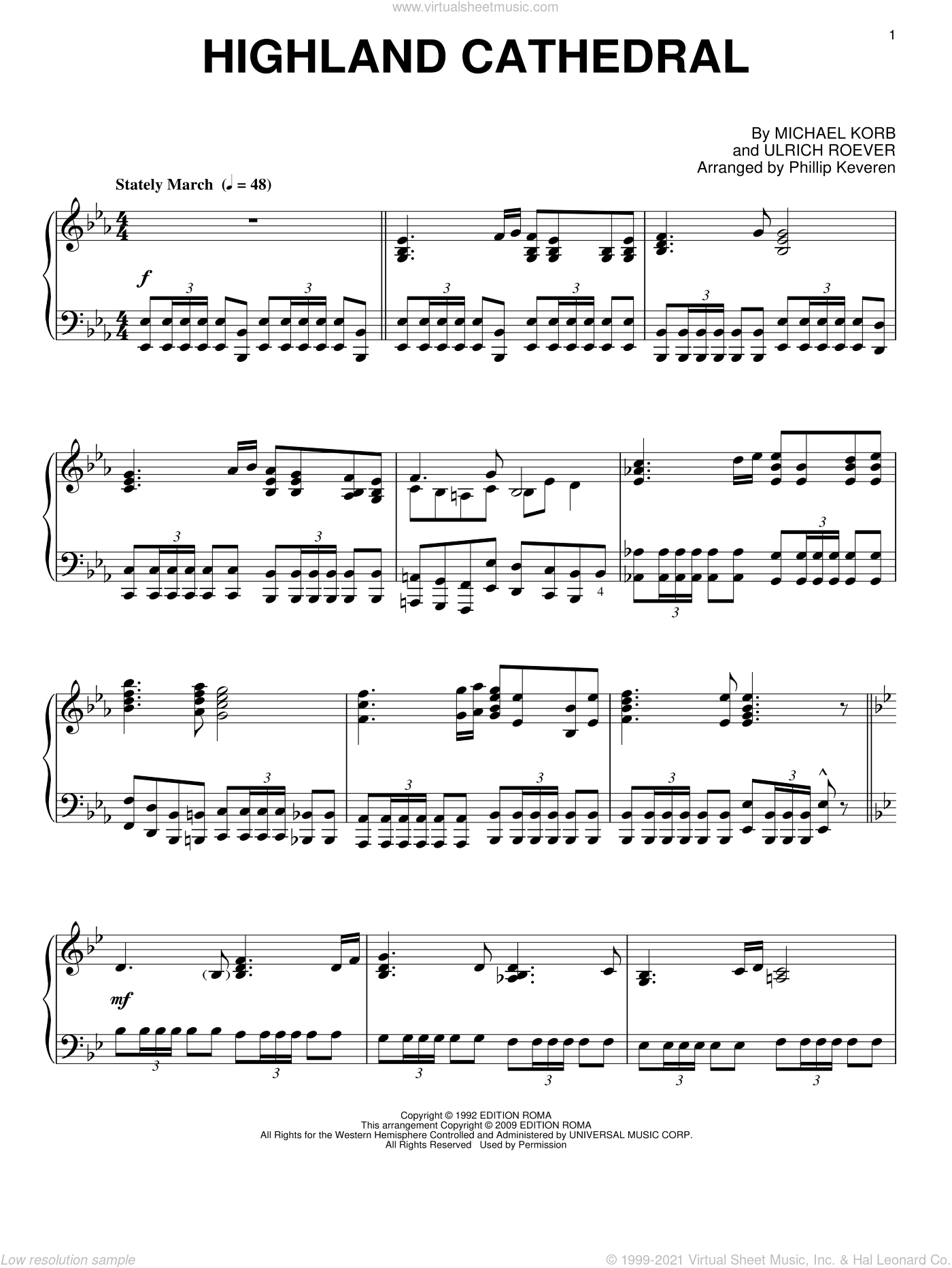 Highland Cathedral sheet music for piano solo by Michael Korb, Phillip Keveren and Ulrich Roever, wedding score, intermediate skill level