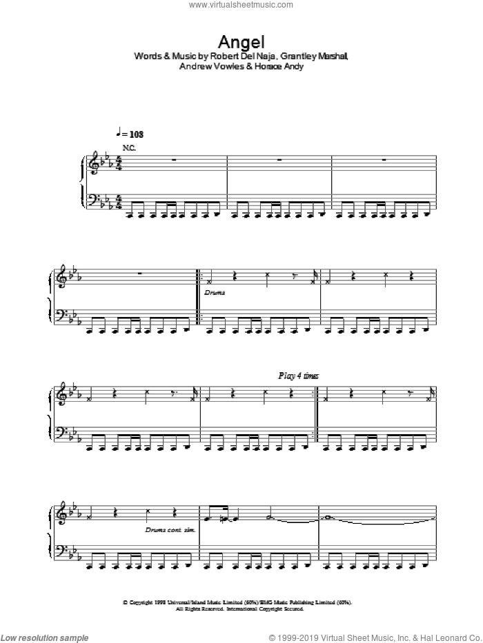 Angel sheet music for voice, piano or guitar by Massive Attack