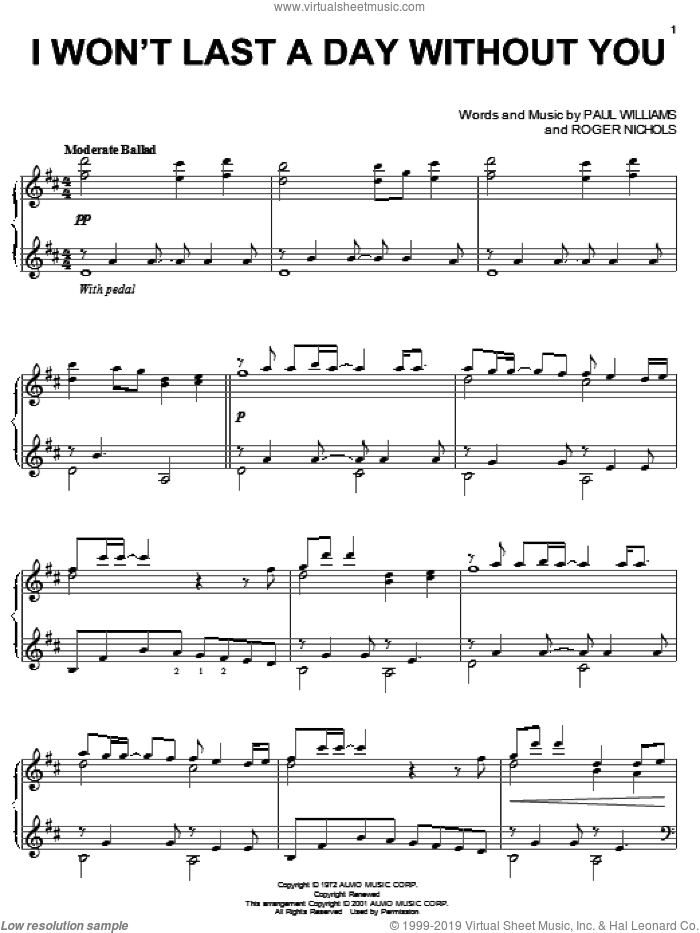 I Won't Last A Day Without You sheet music for piano solo by Carpenters, Paul Williams and Roger Nichols, wedding score, intermediate skill level