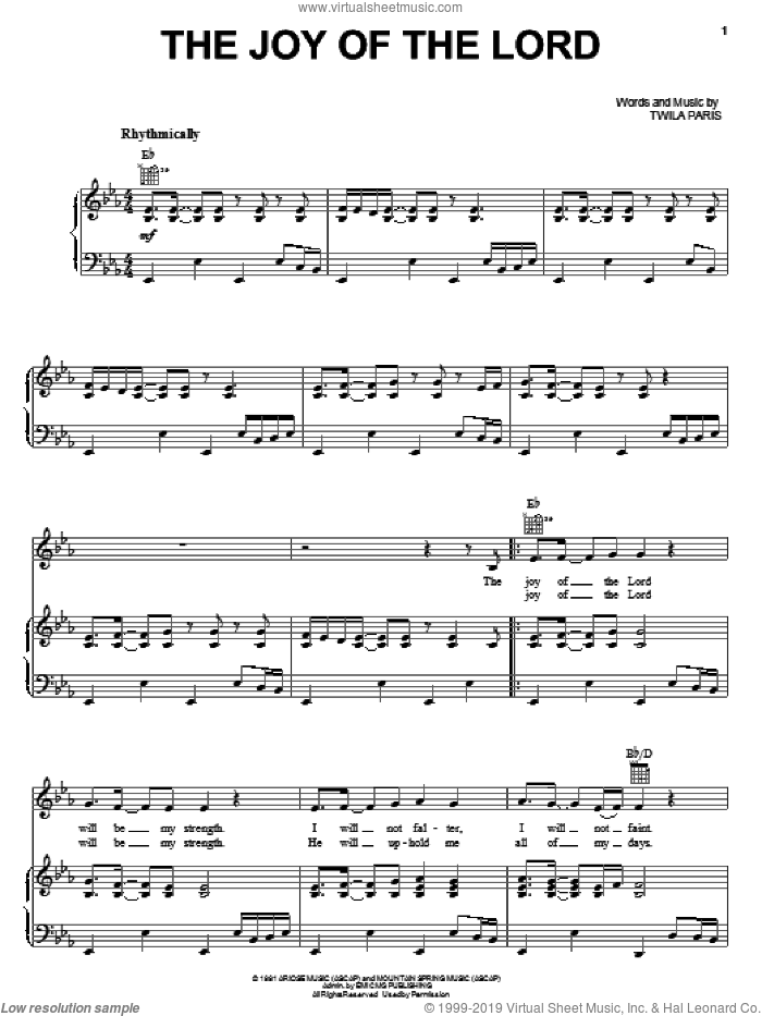 The Joy Of The Lord sheet music for voice, piano or guitar by Twila Paris, intermediate voice, piano or guitar. Score Image Preview.