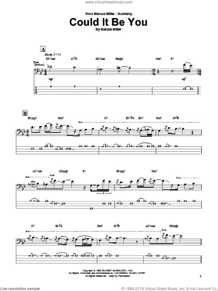 Could It Be You sheet music for bass (tablature) (bass guitar) by Marcus Miller. Score Image Preview.