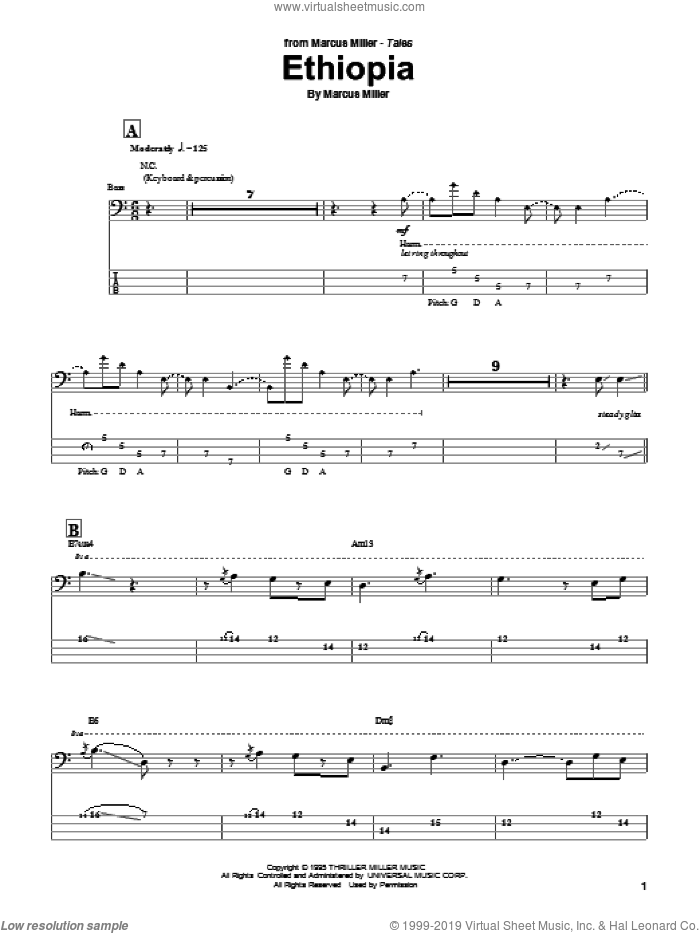 Ethiopia sheet music for bass (tablature) (bass guitar) by Marcus Miller, intermediate. Score Image Preview.