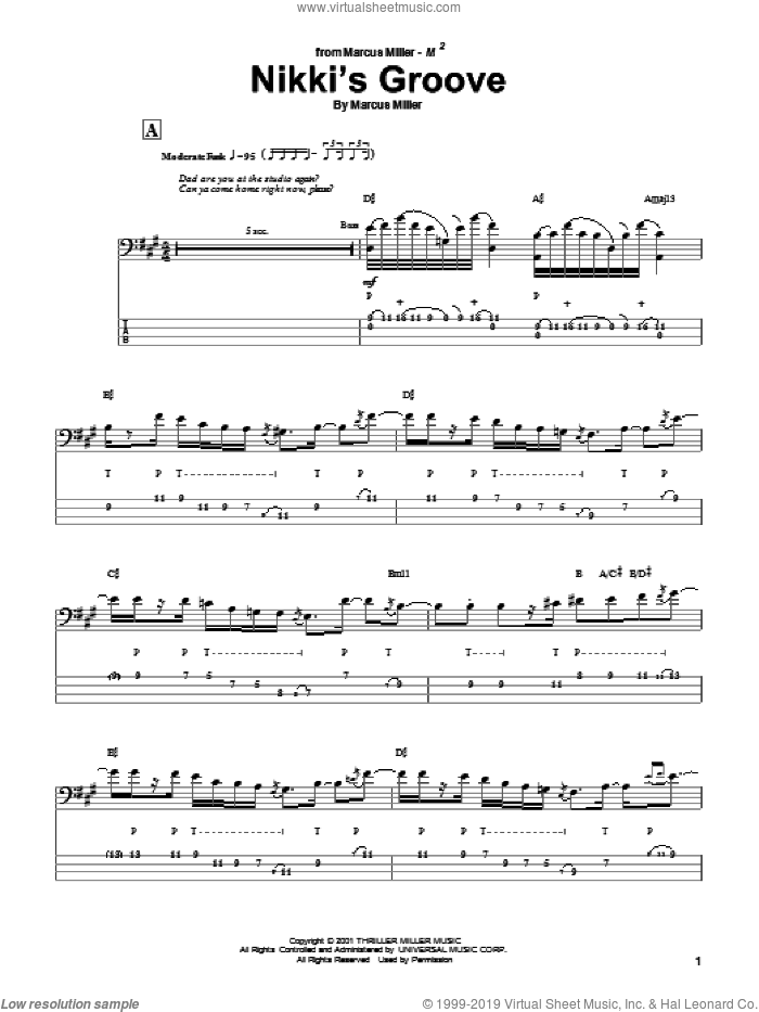 Nikki's Groove sheet music for bass (tablature) (bass guitar) by Marcus Miller. Score Image Preview.