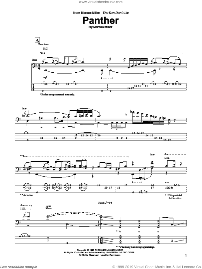 Panther sheet music for bass (tablature) (bass guitar) by Marcus Miller. Score Image Preview.