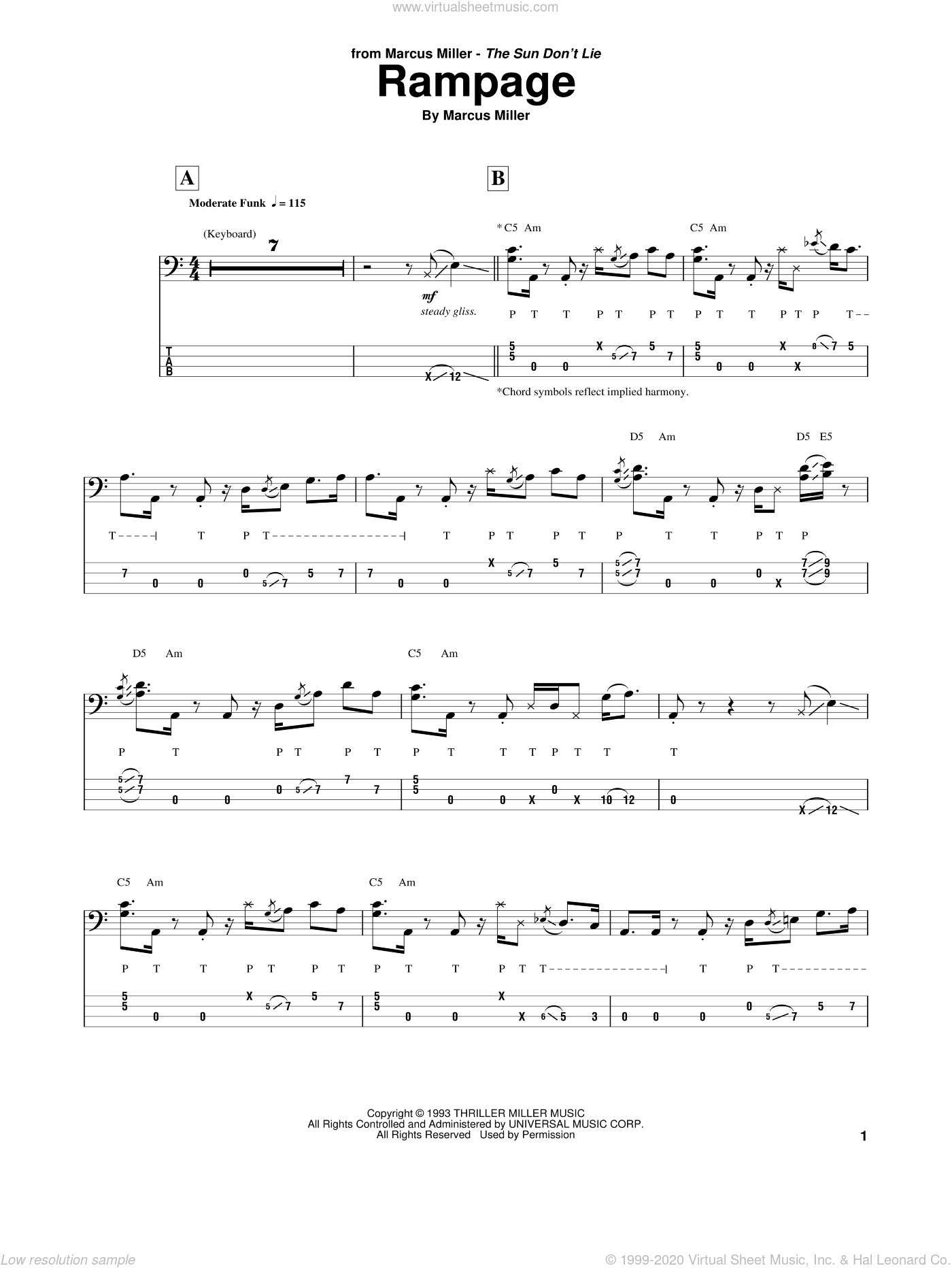Rampage sheet music for bass (tablature) (bass guitar) by Marcus Miller, intermediate skill level