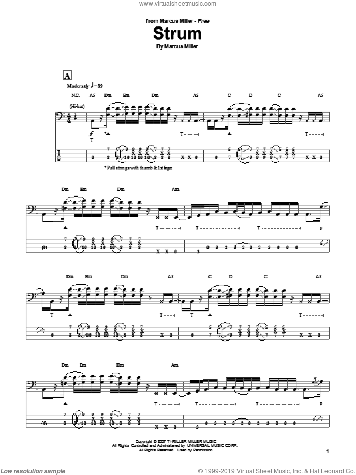 Strum sheet music for bass (tablature) (bass guitar) by Marcus Miller