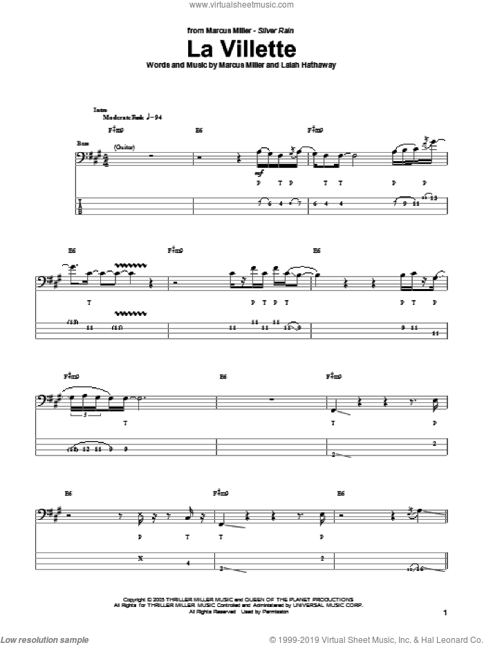 La Villette sheet music for bass (tablature) (bass guitar) by Marcus Miller, intermediate. Score Image Preview.