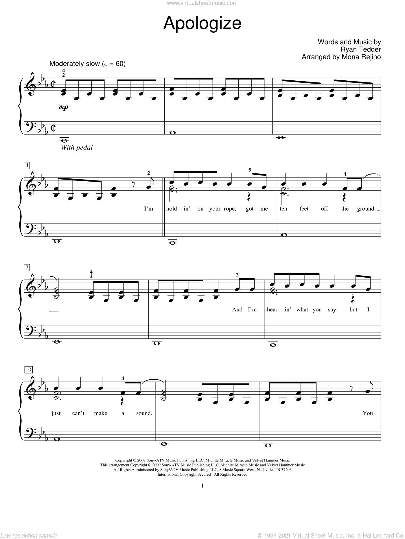 Apologize sheet music for piano solo (elementary) by Ryan Tedder, Miscellaneous, Mona Rejino, OneRepublic, Timbaland and Timbaland featuring OneRepublic. Score Image Preview.
