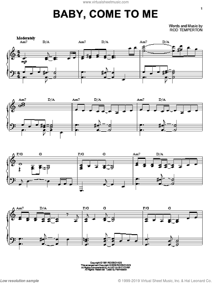 Baby, Come To Me sheet music for piano solo by Rod Temperton