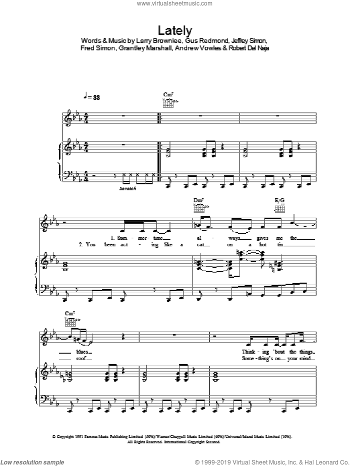 Lately sheet music for voice, piano or guitar by Massive Attack, intermediate skill level